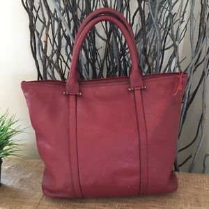 nu New York Large Burgundy Leather Zip Tote